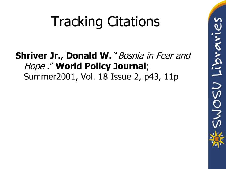 Tracking Citations