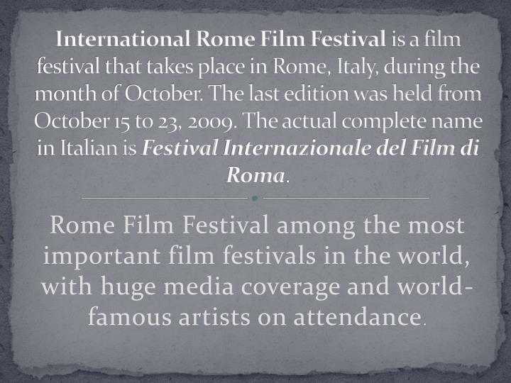 International Rome Film Festival