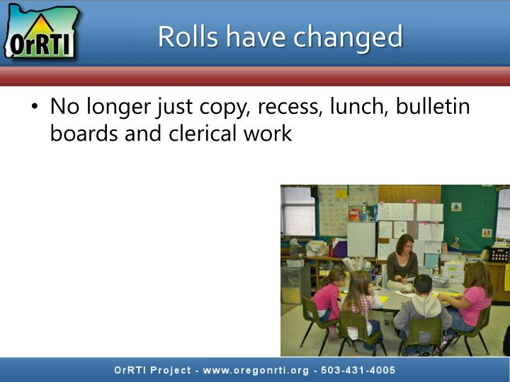Rolls have changed