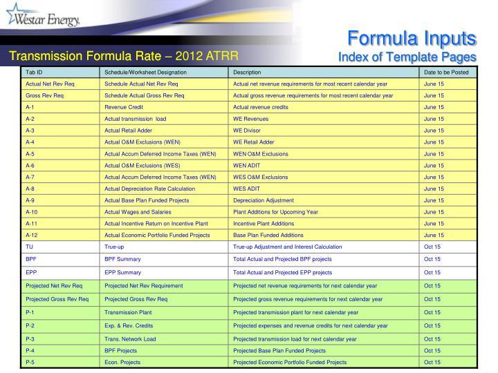 Formula Inputs