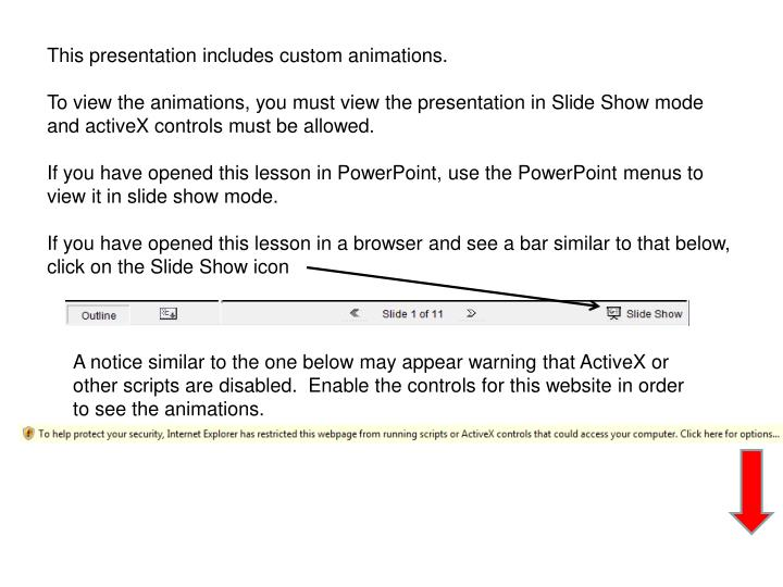 This presentation includes custom animations.