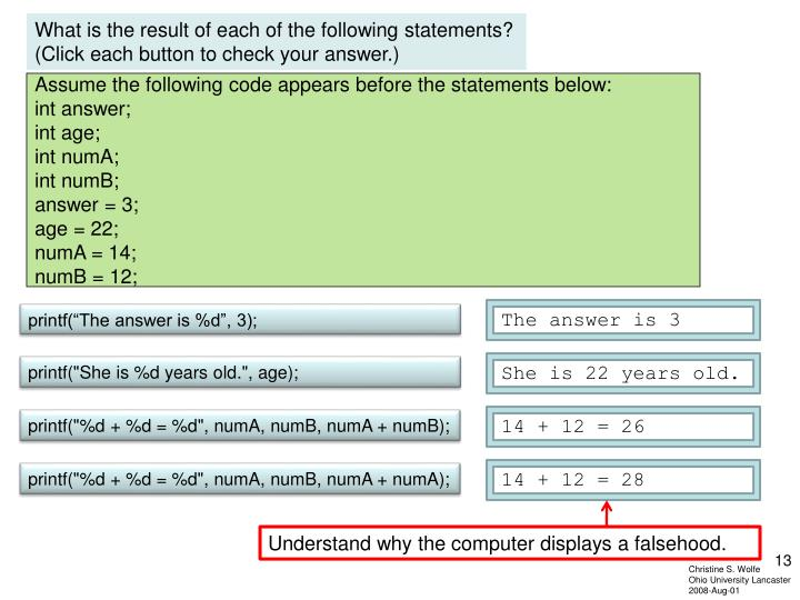 What is the result of each of the following statements?  (Click each button to check your answer.)