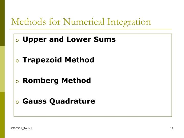 Methods for Numerical Integration