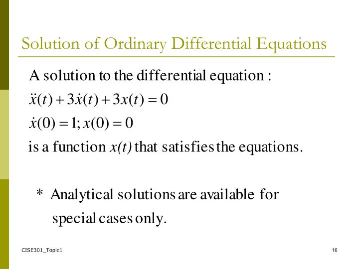 Solution of Ordinary Differential Equations