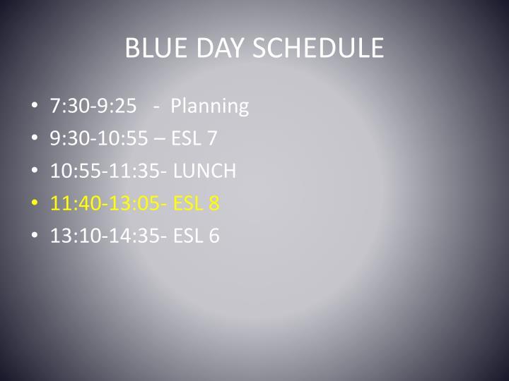 Blue day schedule