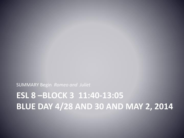 Esl 8 block 3 11 40 13 05 blue day 4 28 and 30 and may 2 2014