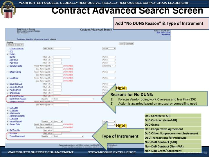Contract Advanced Search Screen