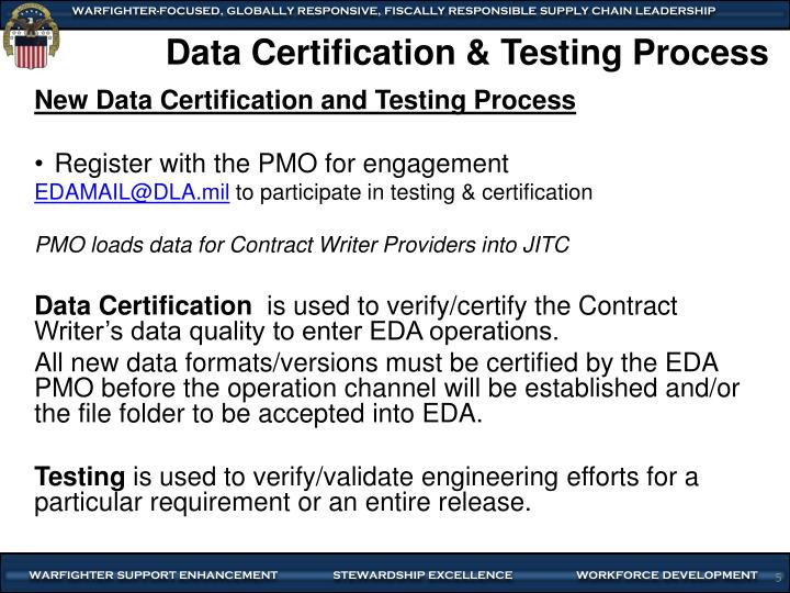 Data Certification & Testing Process