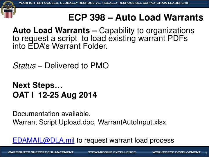 ECP 398 – Auto Load Warrants