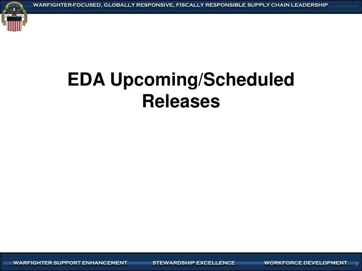 EDA Upcoming/Scheduled