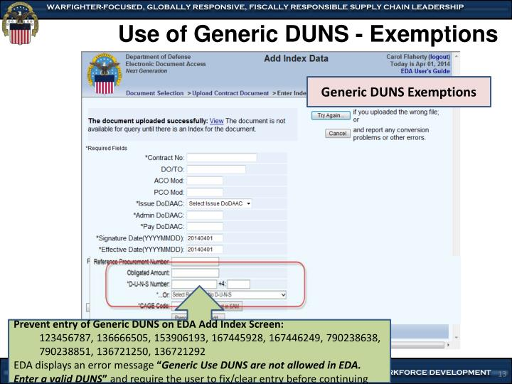 Use of Generic DUNS - Exemptions
