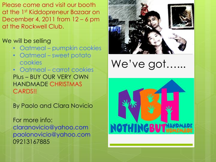 Please come and visit our booth at the 1