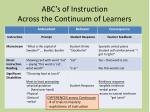 abc s of instruction across the continuum of learners