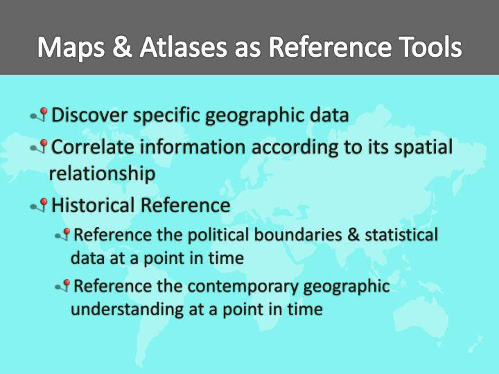 Maps atlases as reference tools
