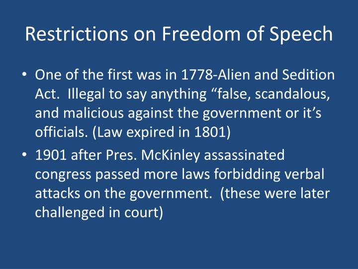 Restrictions on Freedom of Speech