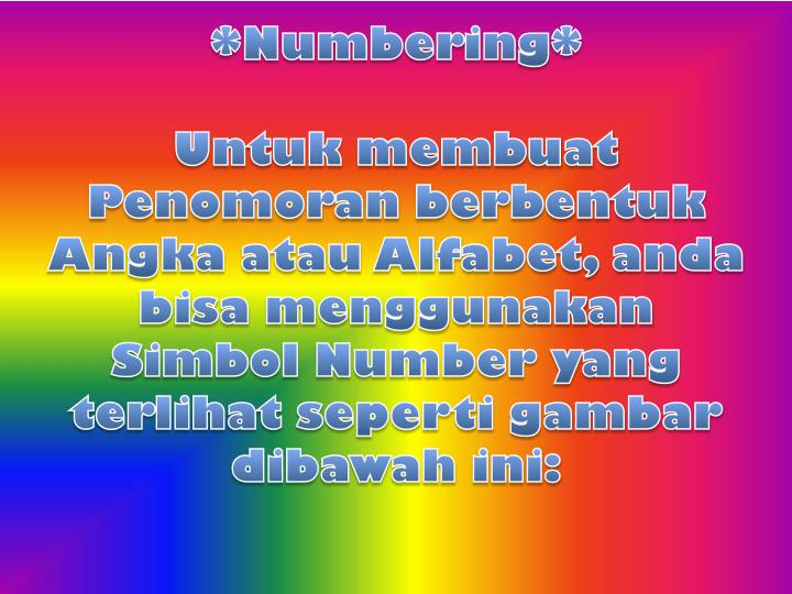 *Numbering*