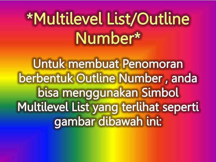 *Multilevel List/Outline Number*