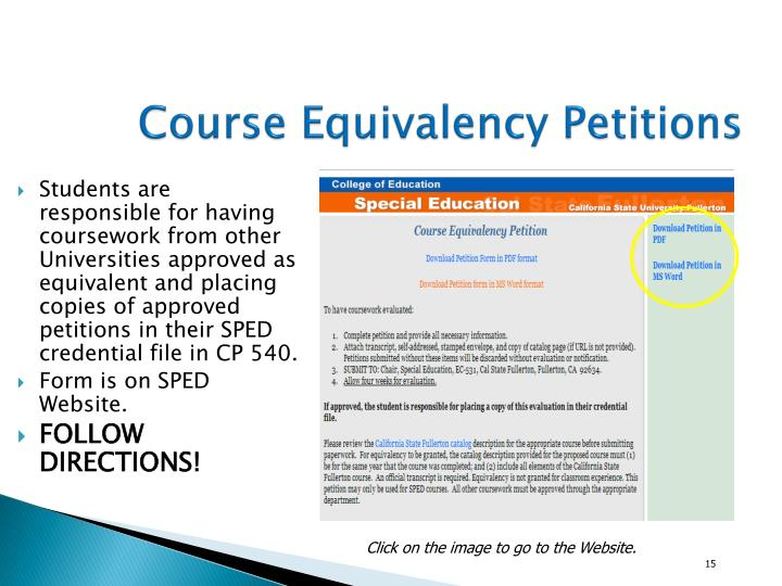 Course Equivalency Petitions