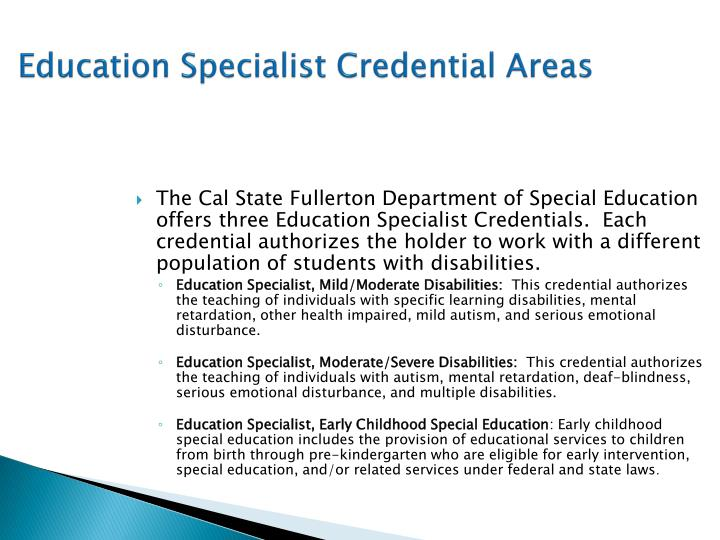 Education Specialist Credential Areas