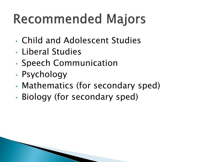 Recommended Majors