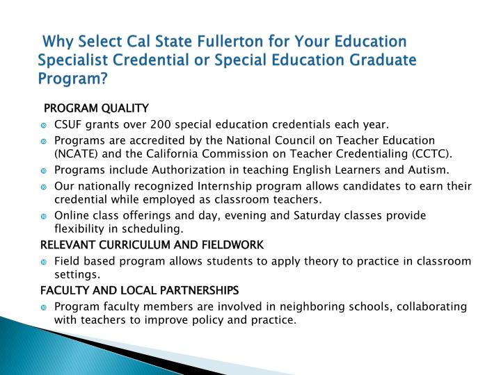 Why Select Cal State Fullerton for Your Education Specialist Credential or Special Education Graduate Program?