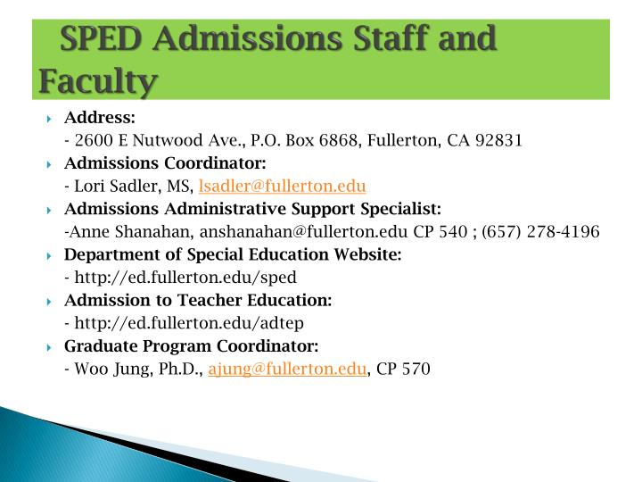 SPED Admissions Staff and Faculty