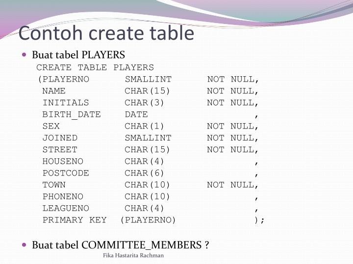 Contoh create table
