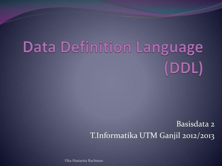 Data definition language ddl
