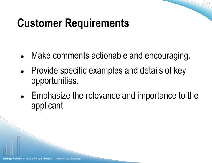 Customer requirements