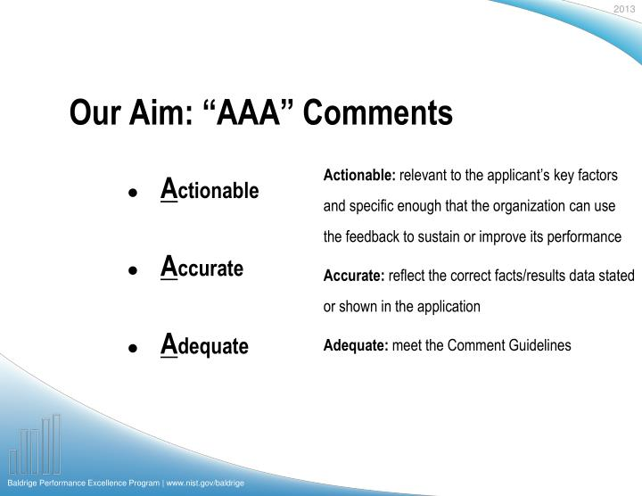 Our aim aaa comments
