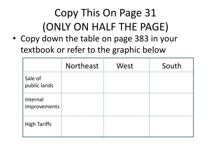 Copy this on page 31 only on half the page