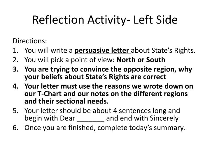 Reflection Activity- Left Side