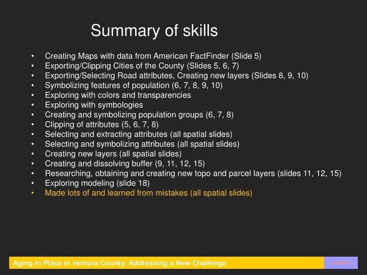 Summary of skills