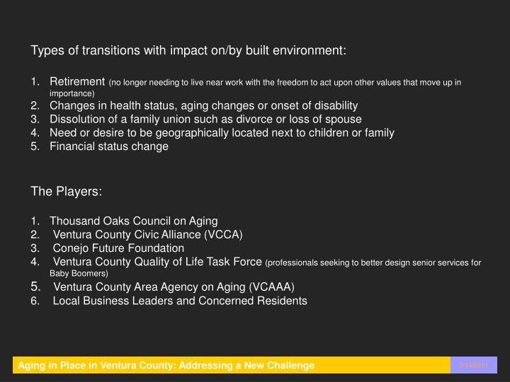 Types of transitions with impact on/by built environment: