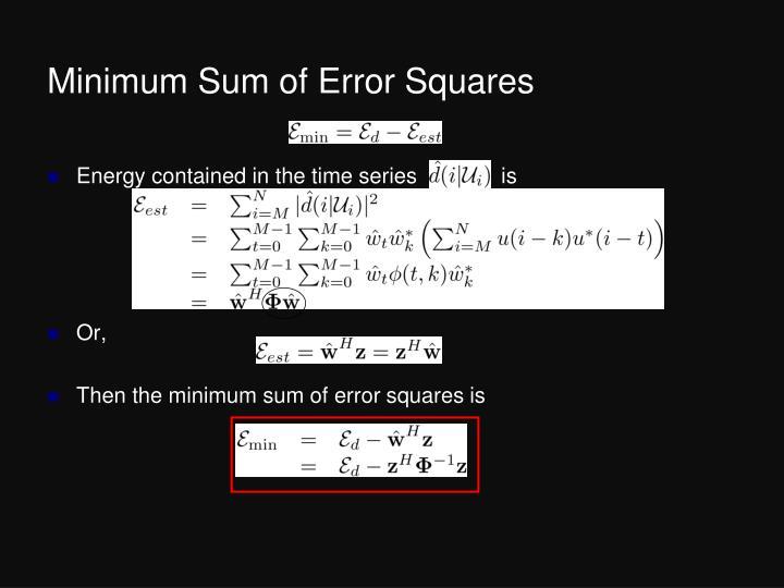 Minimum Sum of Error Squares