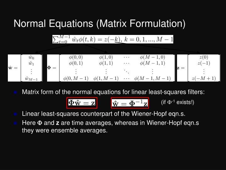 Normal Equations (Matrix Formulation)