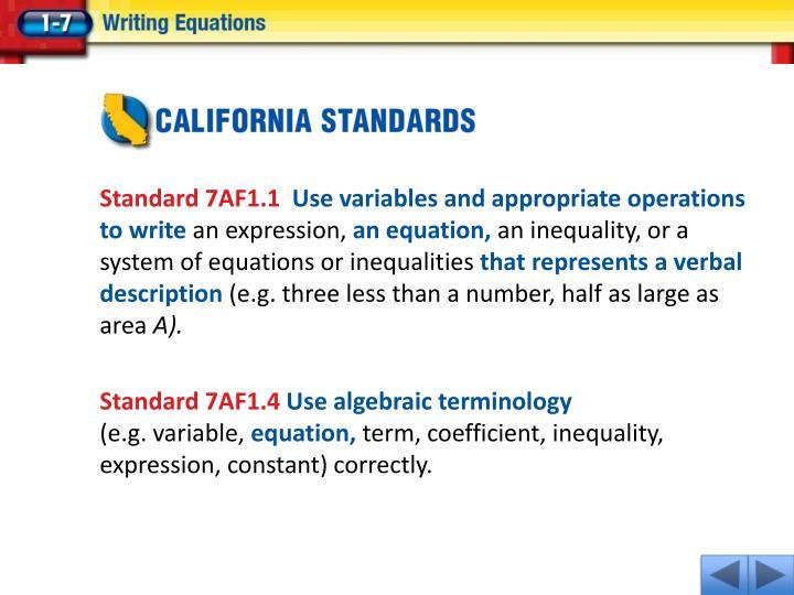 Standard 7AF1.1