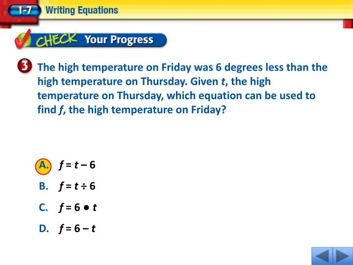 The high temperature on Friday was 6 degrees less than the high temperature on Thursday. Given