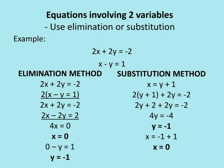 Equations involving 2 variables