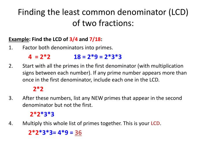 Finding the least common denominator (LCD)