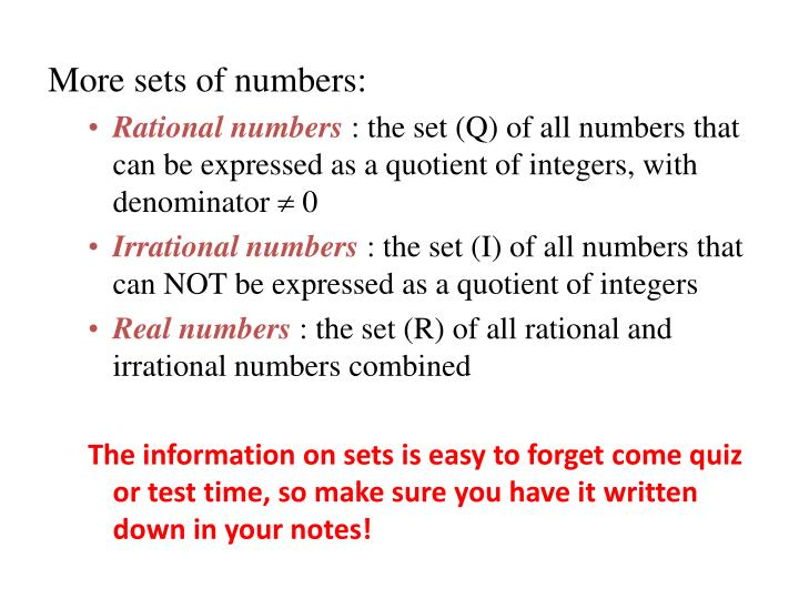 More sets of numbers: