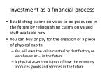 investment as a financial process