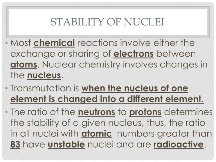 stability of nuclei n.