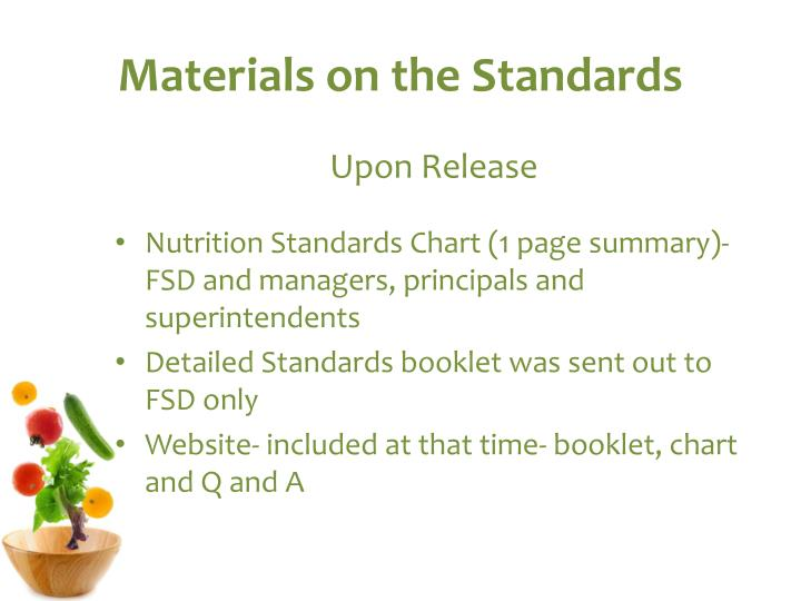 Materials on the Standards