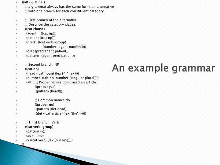 An example grammar