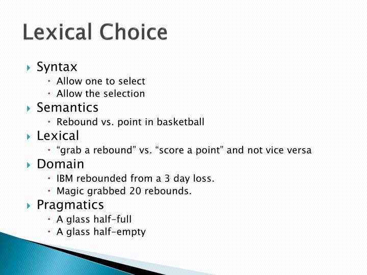 Lexical Choice