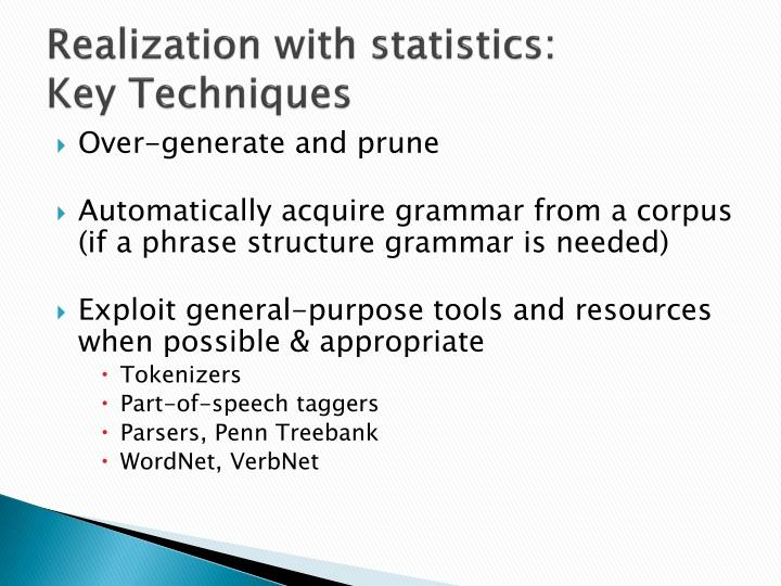 Realization with statistics: