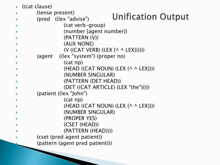 Unification Output
