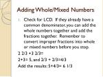 adding whole mixed numbers