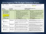 2014 agency fin budget selection form